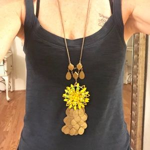 Anthropologie Brass Floral Burst Necklace